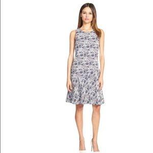 Pink Tartan Jacquard Swirl Navy & White Dress NEW